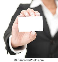 tenue, signe, business, femme affaires, carte, -, vide