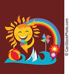 tenue, soleil, glace, été, set;, heureux