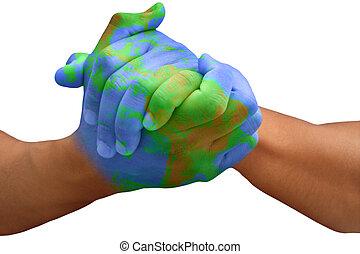 terre planète, peint, homme, mains