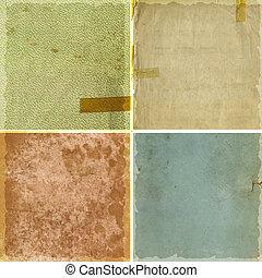 textures, papier, grunge, collection