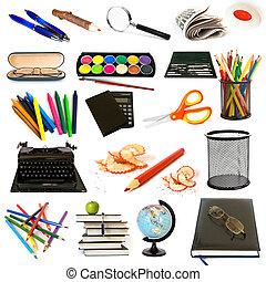 thème, education, groupe, objets