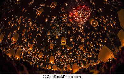 thaï, lampe, flotter, gens
