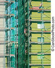 thermique, façade, échafaudage, installer, isolation, bâtiment, maison, arround, appartement