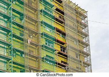 thermique, façade, arround, maison de plusieurs pièces, échafaudage, isolation, bâtiment, installer