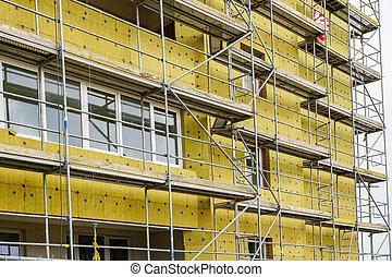 thermique, façade bâtiment, échafaudage, installer, appartement, isolation, maison, arround