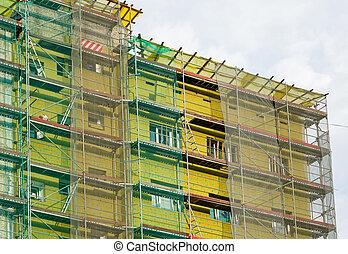 thermique, maison, immeuble, échafaudage, arround, installer, isolation, façade