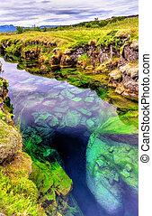 thingvellir, fissure, tectonique, islande, national, parc eau, entre, plaques