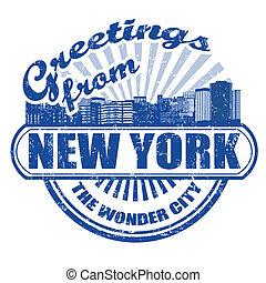 timbre, nouveau, salutations, york