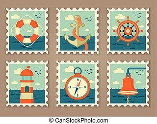 timbres, marin, retro