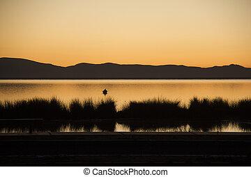 titicaca, coucher soleil, lac