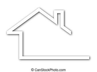 toit, maison, -, logo, pignon