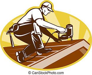 toit, toiture, fonctionnement, roofer, ouvrier