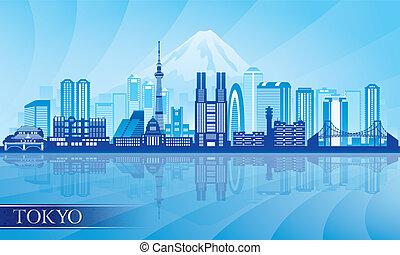 tokyo, détaillé, horizon, ville, silhouette