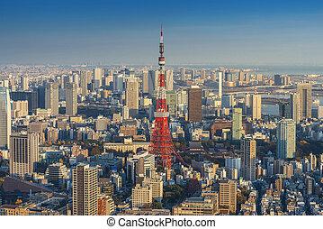 tokyo, horizon, cityscape, japon, tour, coucher soleil