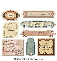ton, étiquettes, vecteur, ensemble, vendange, design.