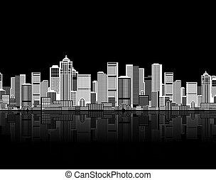 ton, art, fond, seamless, cityscape, conception urbaine