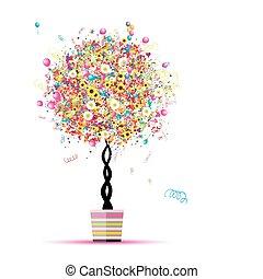 ton, ballons, vacances, rigolote, arbre, heureux, pot, conception