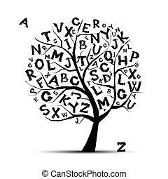 ton, lettres, art, arbre, conception, alphabet