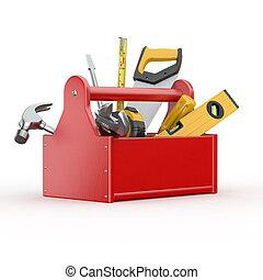 tools., marteau, clé, skrewdriver, boîte outils, scie main