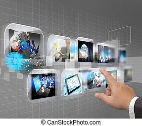 toucher, interface, pousser, écran, main