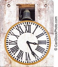 tour, horloge, vieux, cloche