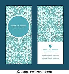 tourbillons bleu, ensemble, vertical, damassé, lumière, cadre, salutation, vecteur, invitation, cartes, modèle, rond