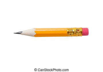 très, crayon, caoutchouc, court, jaune