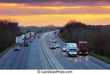 trafic, camions, autoroute