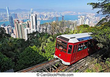 tram, hong, touriste, pic, kong