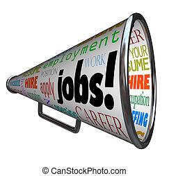 travaux, carrière, travail, bullhorn, porte voix, emploi
