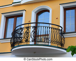 treillis, forgé, balcon