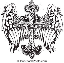 tribal, croix, aile