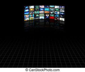 tv, grand, panneau, écrans