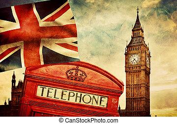 uk., union, grand, angleterre, londres, symboles, téléphone, drapeau, cric, cabine, ben, rouges