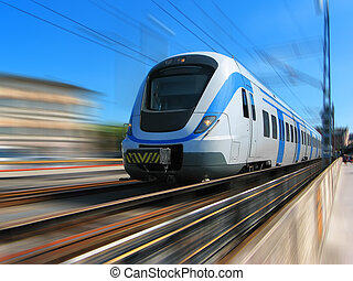 ultra-rapide, mouvement, train, barbouillage