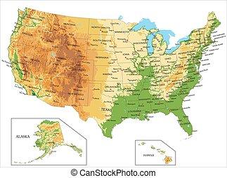 uni, america-physical, carte, etats