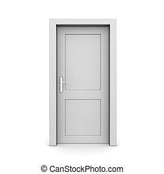 unique, porte, gris, fermé