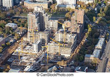 urbain, aérien, maison, site, construction, vue