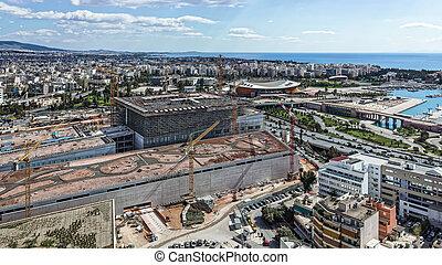 urbain, aérien, site, environnement, construction, vue