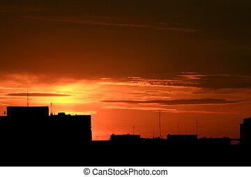 urbain, coucher soleil