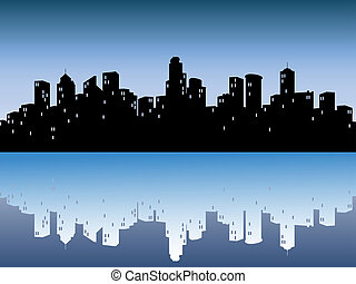 urbain, horizons, reflet