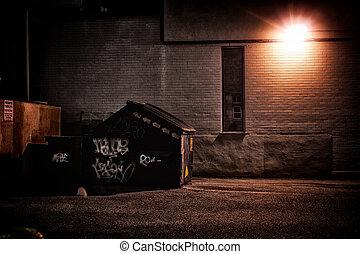 urbain, ruelle, nuit