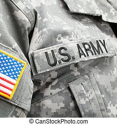 usa, armée, etats-unis, pièce, drapeau, solder's, uniforme