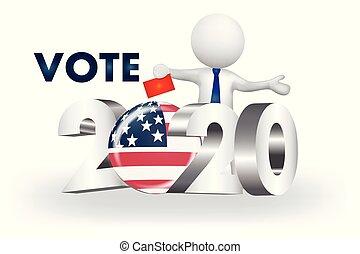 usa, gens, -2020, petit, vecteur, vote, logo, 3d
