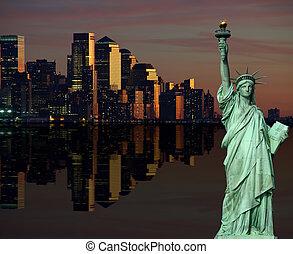 usa, nyc, horizon, york, cityscape, nouveau, nuit