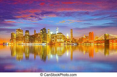 usa, panorama, york, ville, nouveau