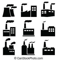 usine, usine industrielle, puissance, icônes