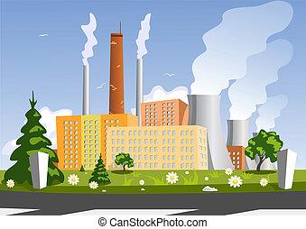 usine, vecteur, illustration