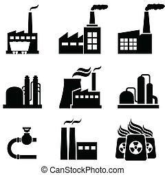 usines, bâtiments, industriel, puissance, usines