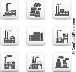 usines, industriel, puissance, icônes, bâtiments, usines